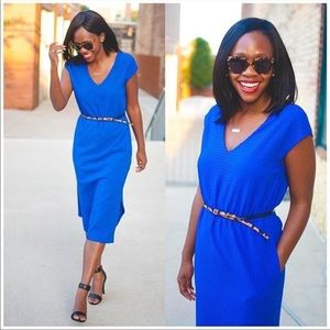 J crew perforated drapery Side slit blue dress 2